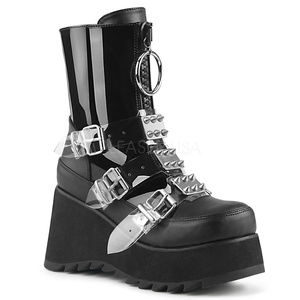 Shoes - Buckle Platform Mid-Calf Spike Boots Gothic Punk